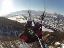 Biplace à ski sur St Léger les Mélèzes (Photo T. de Rosnay)