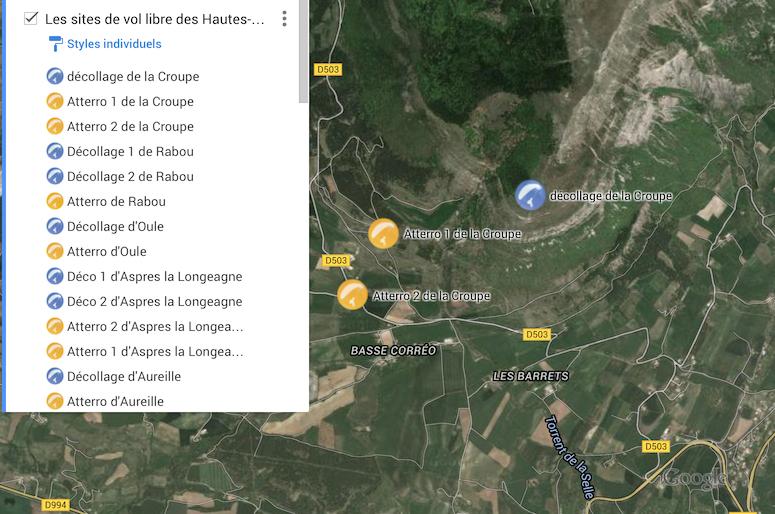 Carte des sites de parapente des Hautes-Alpes