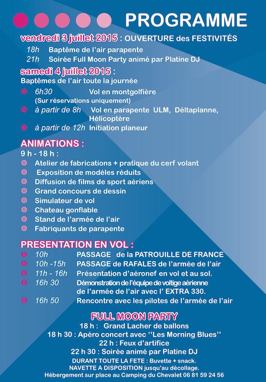 Programme Fête de l'Air 2015 (cliquer pour agrandir)